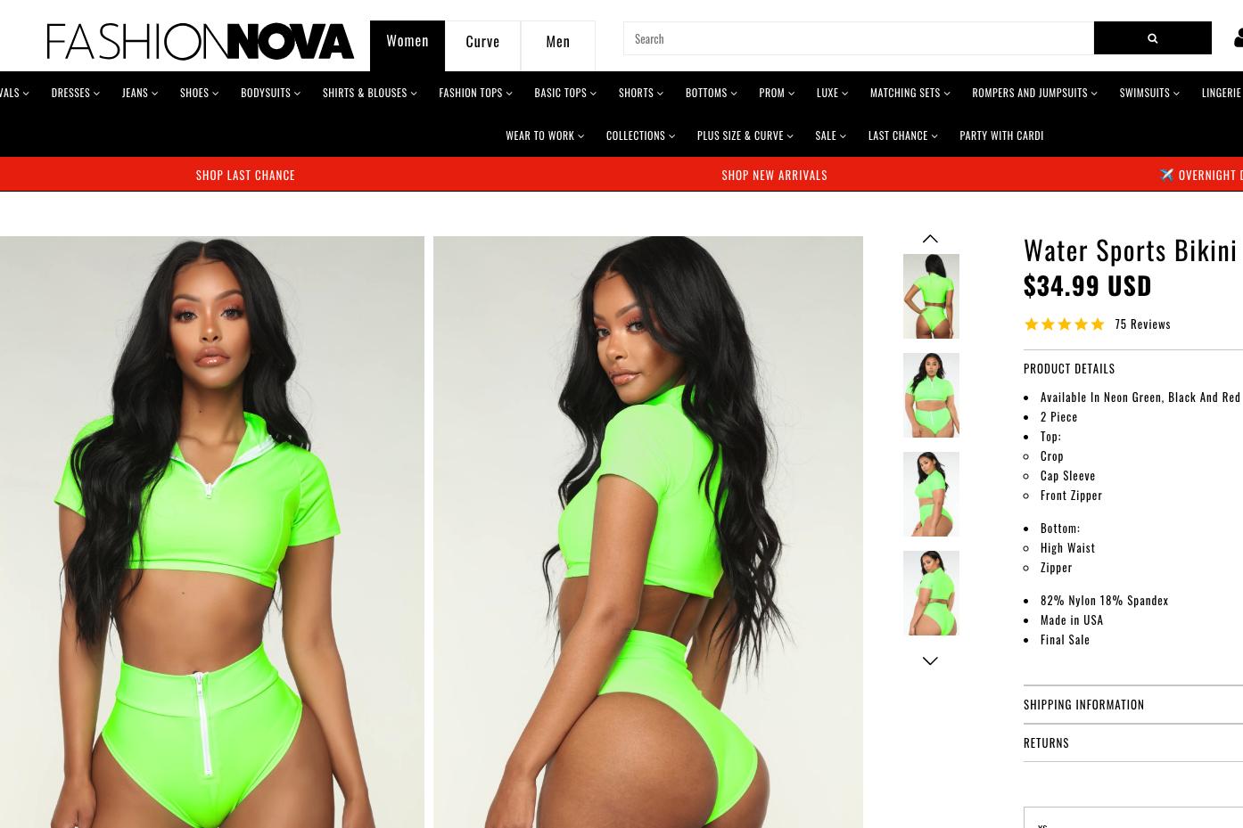 Fashion Nova swimwear comes with label warning ingredients