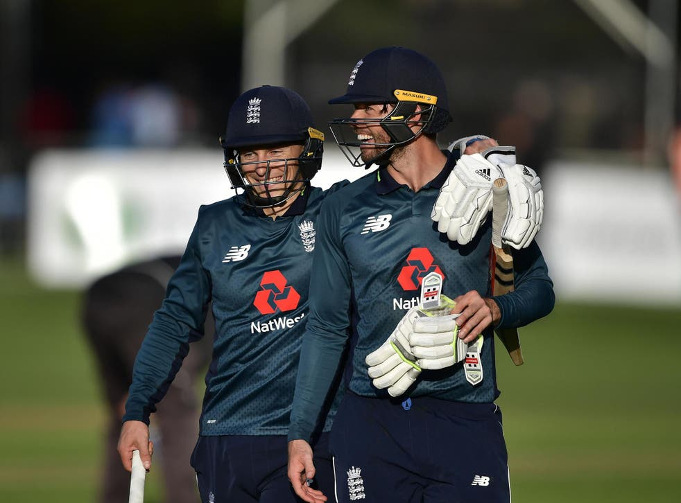 Ben Foakes and Tom Curran walk off after securing victory against Ireland