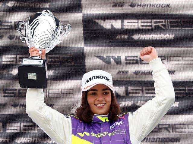 Jamie Chadwick celebrates winning the first race of the new W Series at Hockenheim