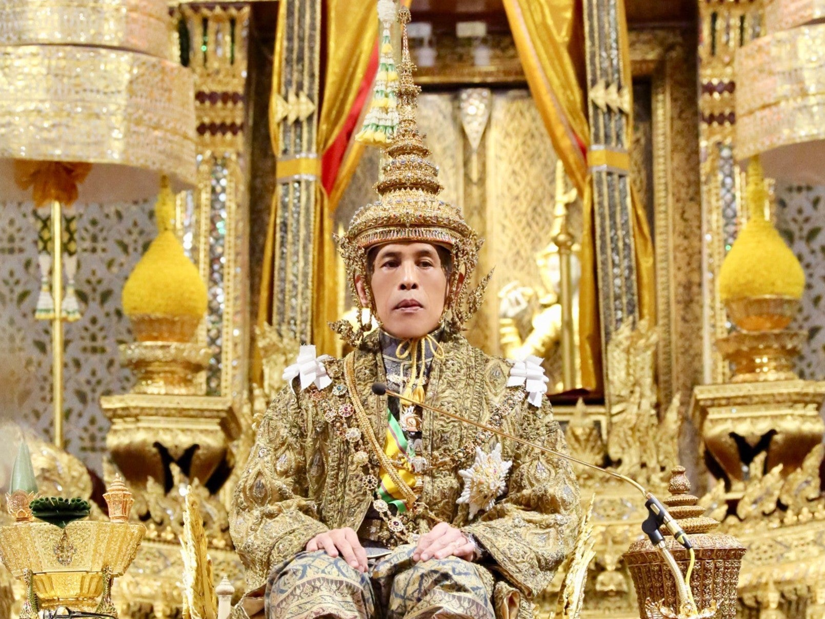 Thai King Vajiralongkorn crowned at start of three day ceremony which transforms him into living god