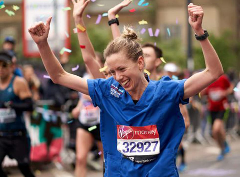 Jessica Anderson completed the London Marathon in three hours, eight minutes and 22 seconds while wearing her nurse's uniform