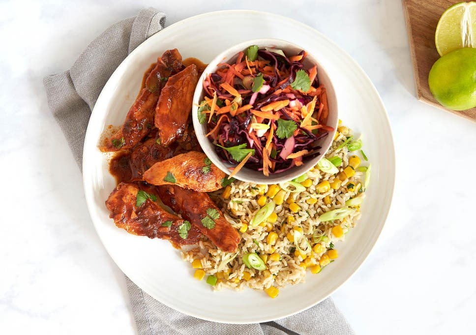 How To Make Bbq Style Chicken Sweetcorn Rice And Slaw The