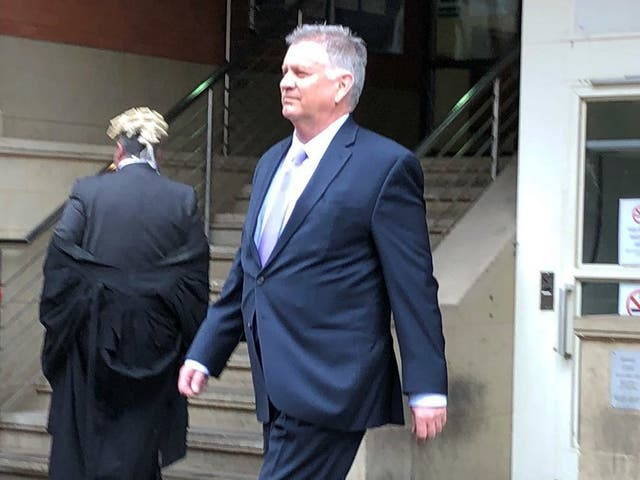 American Airlines pilot David Copeland, 63, leaves Minshull Street Crown Court in Manchester after he was spared jail 8 May 2019.