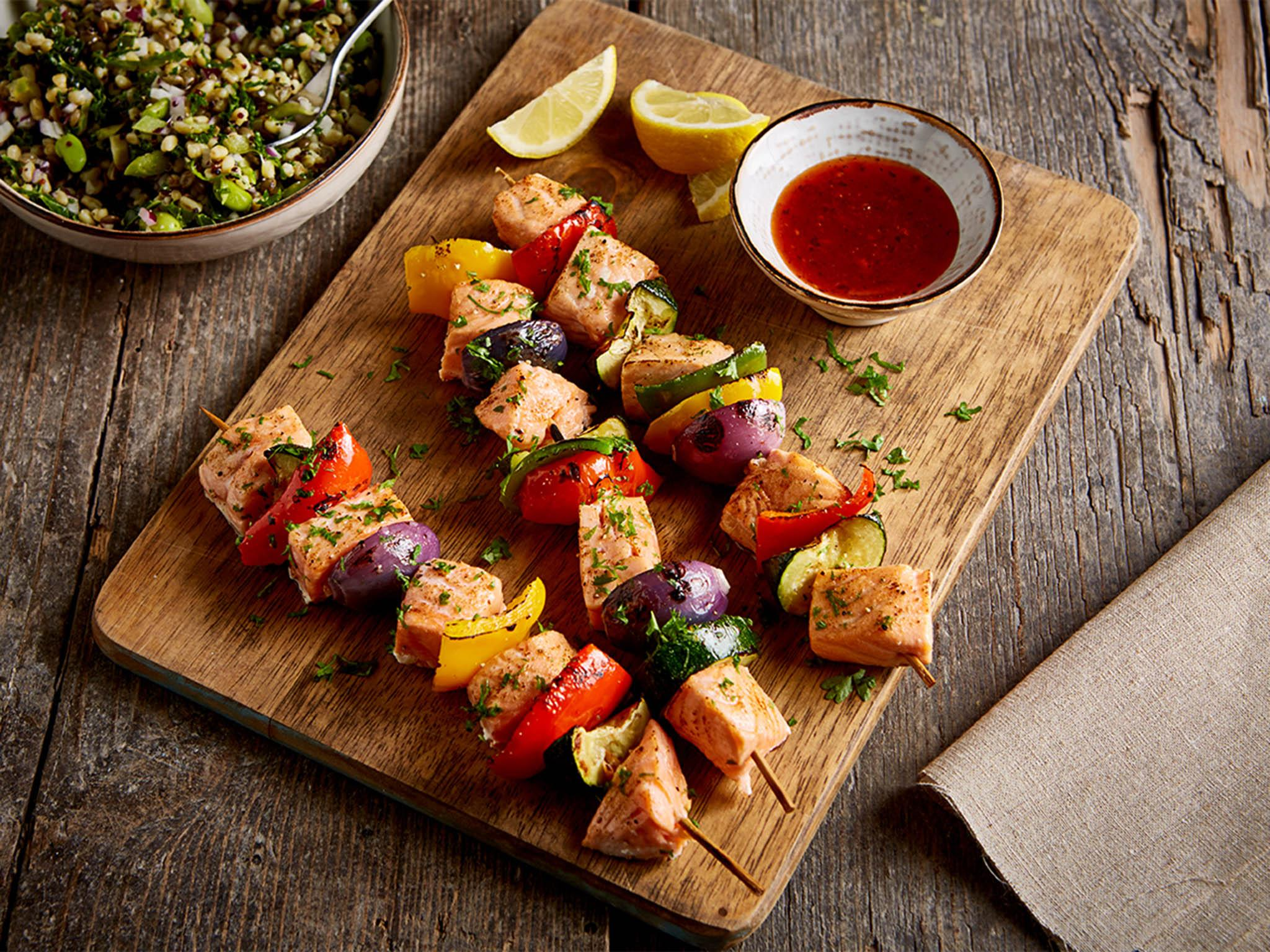 How to make salmon and vegetable kebabs with an ancient grain side salad 1