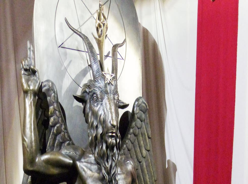 A one tonne, seven foot bronze statue of Baphomet - a goat-headed winged deity - is displayed by the Satanic Temple in Salem, Massachusetts