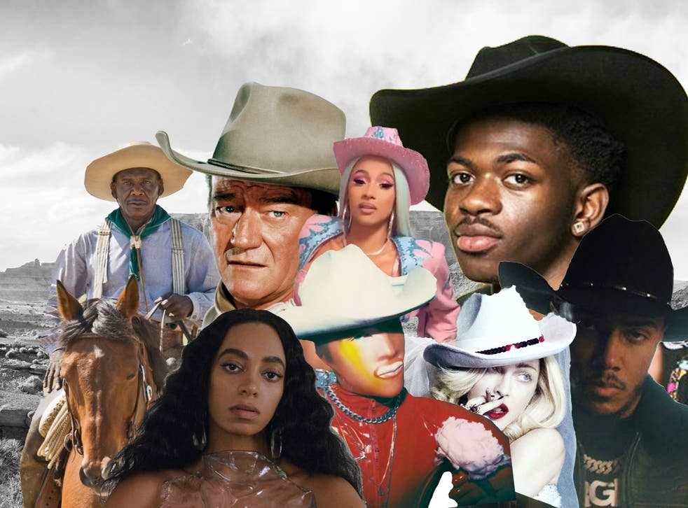 Top row (from left): John Wayne, Cardi B, Lil Nas X. Bottom row: Solange, Matt Shultz, Madonna and AJ Tracey