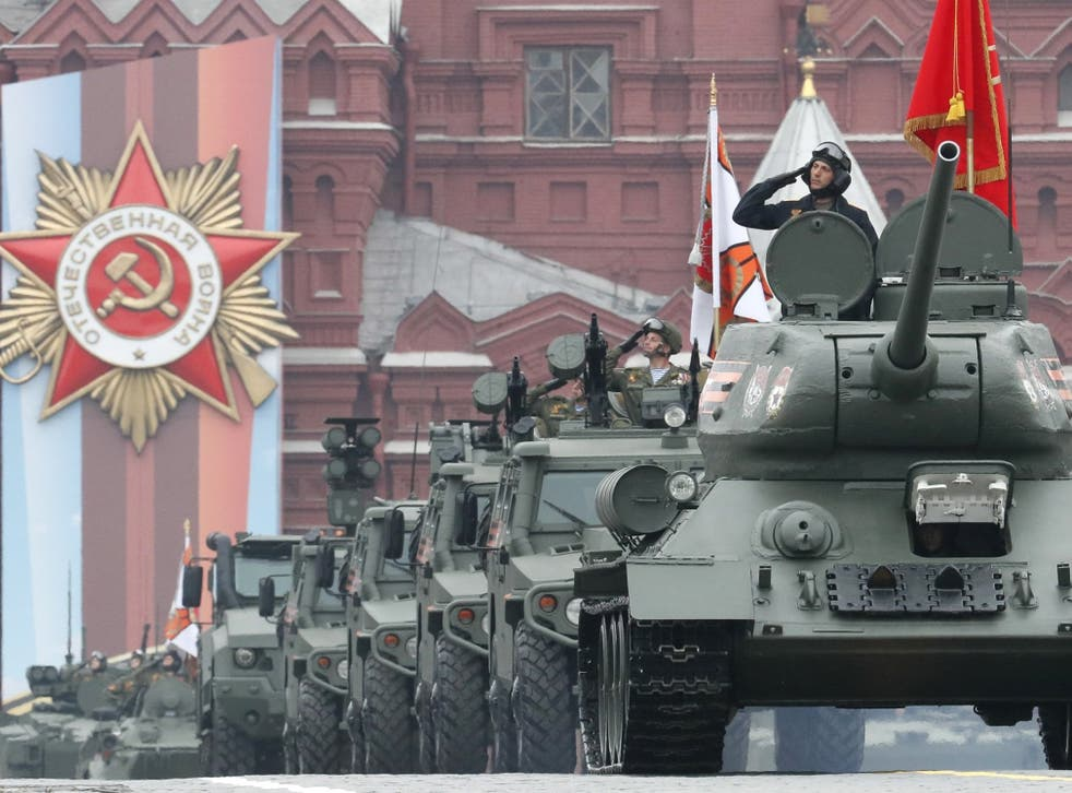 The T-34 tank, a workhorse of the Soviet WWII campaign, leads the Victory Day column on Red Square