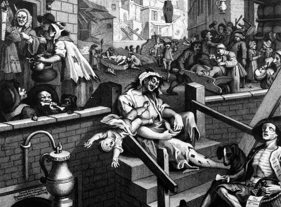 Scenes of debauchery in Gin Lane by William Hogarth