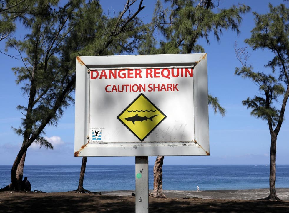A sign on Reunion: locals have talked of a 'shark crisis'