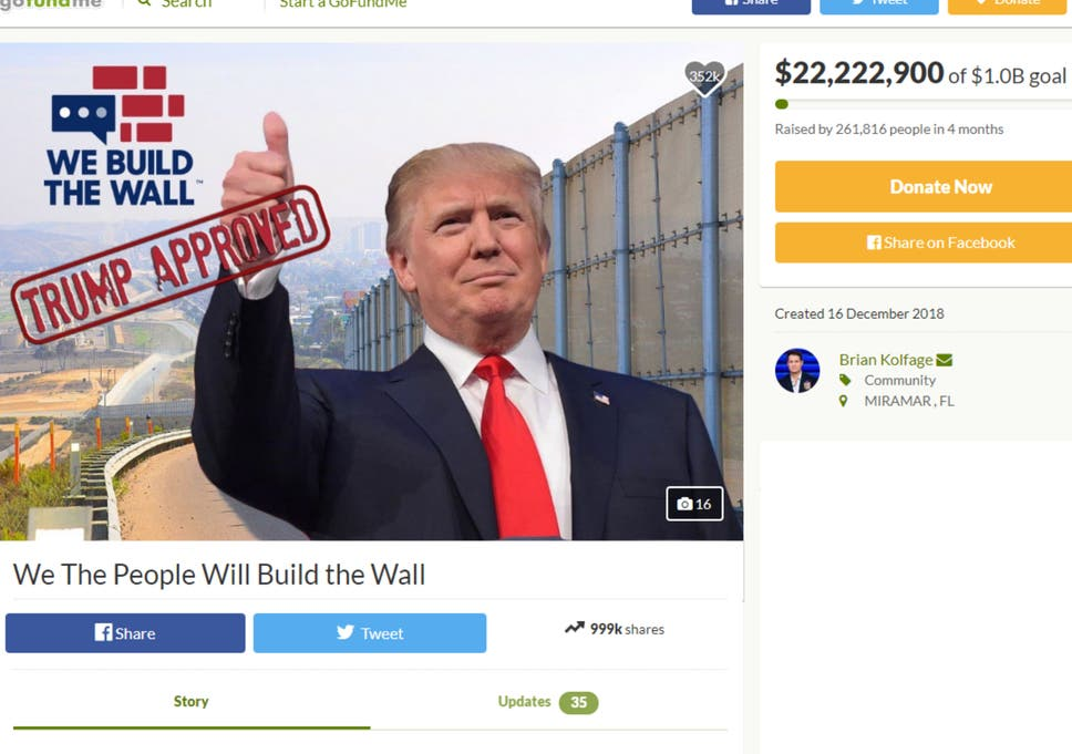 Disappointed' donors who raised £17m to build Trump's wall
