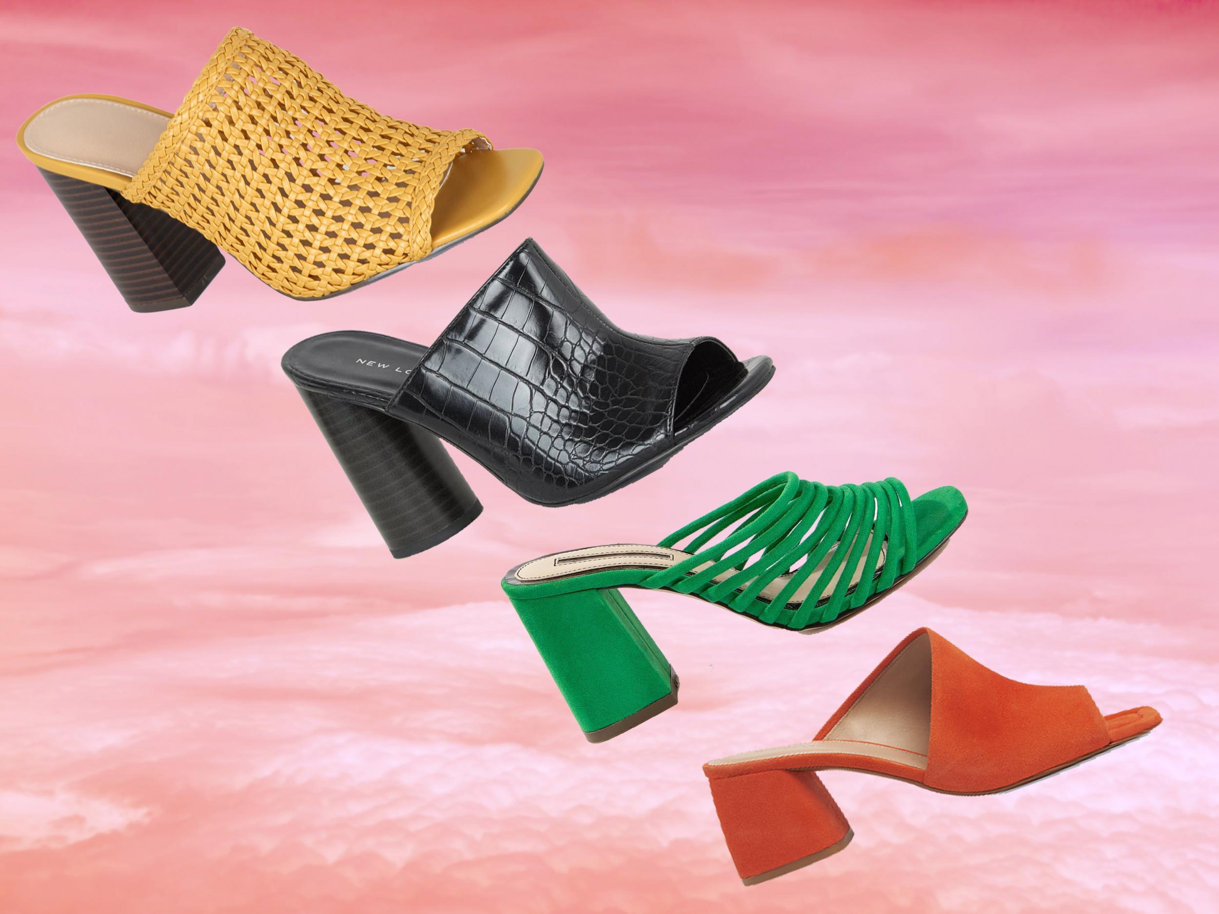 Vintage Women Chunky Heel Block Sandals Strap Peep Toe Elastic Bandage Shoes UK
