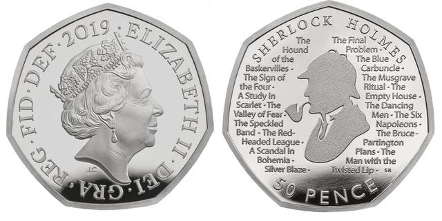 Royal Mint undated handout photo of their commemorative 50p to celebrate 160 years since the birth of Sir Arthur Conan Doyle, with a coin dedicated to his most famous creation - the detective Sherlock Holmes.