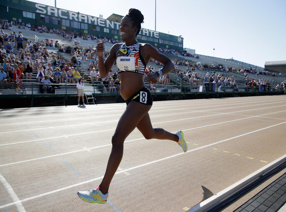 """Alysia Montano runs in the Women""""s 800 Meter opening round during Day 1 of the 2017 USA Track & Field Championships at Hornet Satdium on June 22, 2017 in Sacramento, California"""