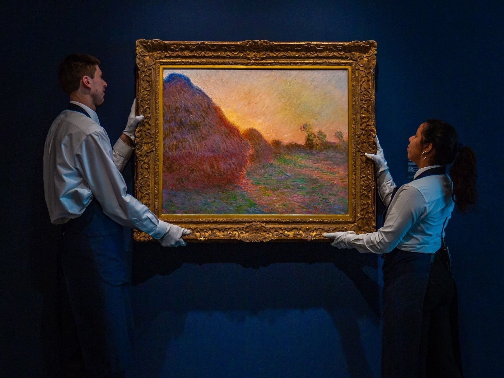 Monet Haystacks painting sells for record $110.7m at New York auction