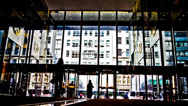 Looking out of the lobby of Trump Tower
