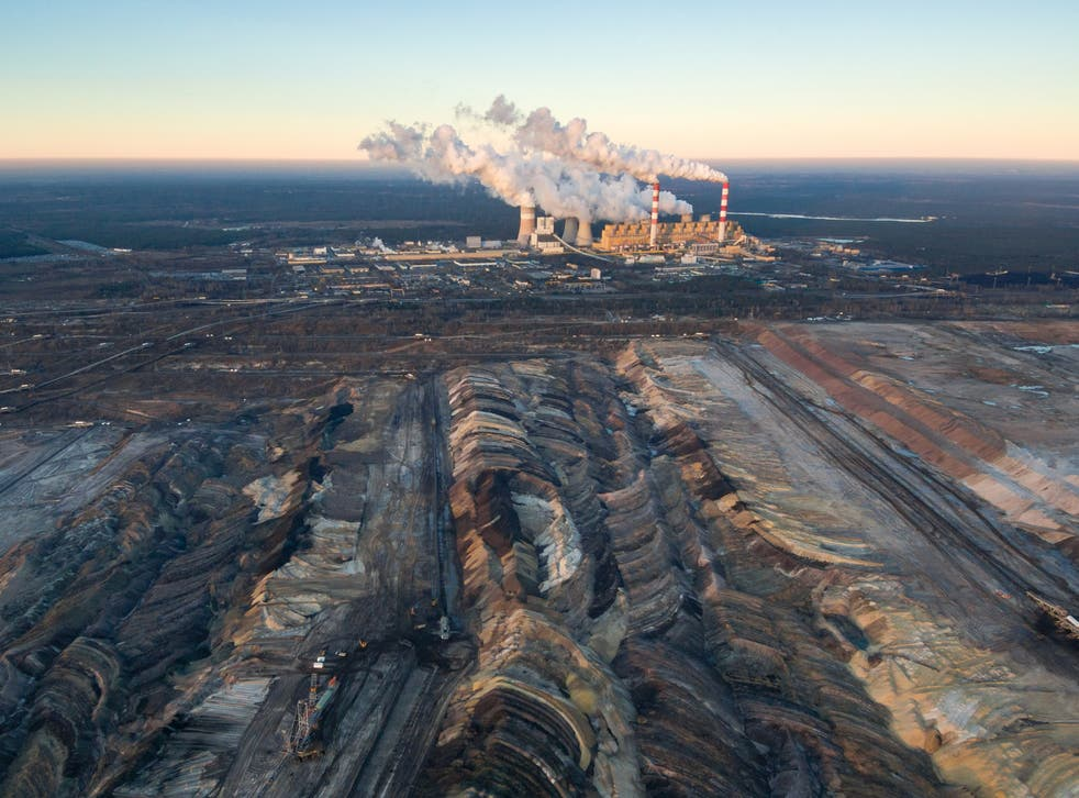 Aerial view of an open-cast coal mine in Belchatow, Poland