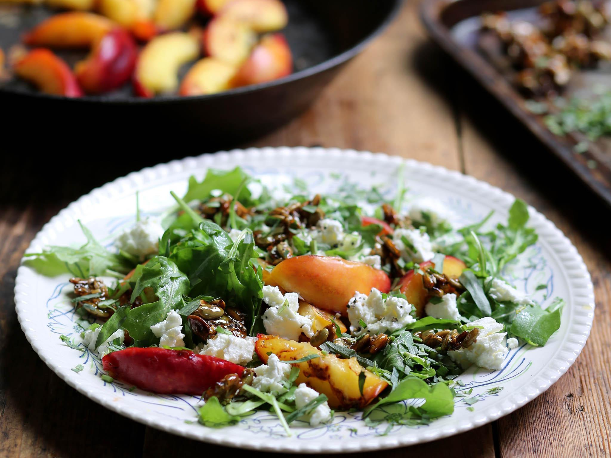 How to make griddled nectarine salad with honeyed pumpkin-seed brittle
