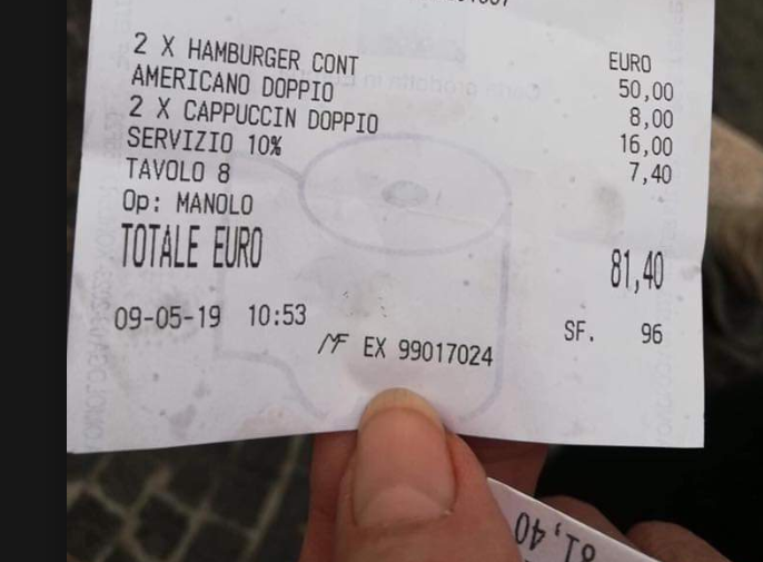 Rome restaurant under fire after charging £70 for two burgers and three coffees