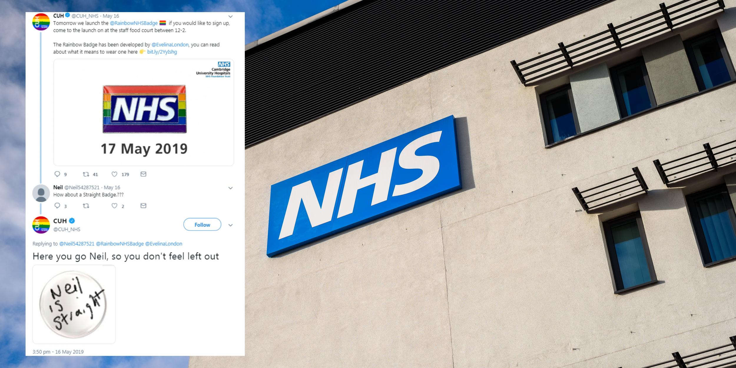 Hospital has brutal response to man complaining about LGBT NHS badge