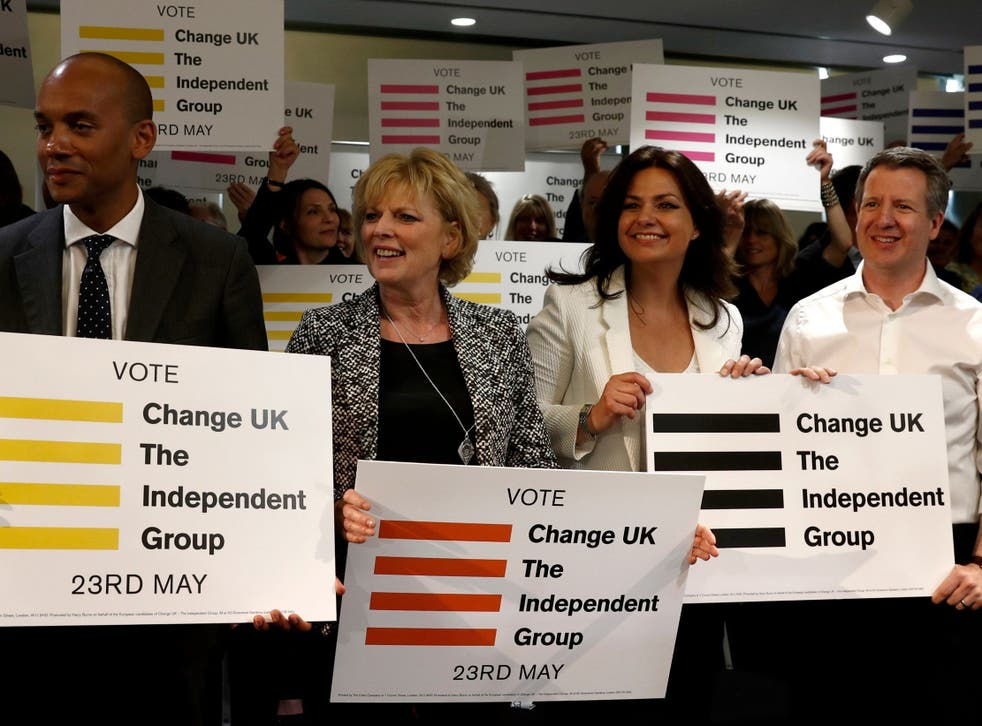 (L-R) Chuka Umunna, Anna Soubry, Heidi Allen and Chris Leslie, all MP's of the new pro-EU political party, Change UK, listen to speeches at the launch of their European election campaign in April