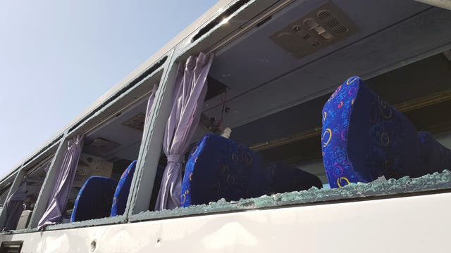 A tourist bus was hit by an explosion near the Giza pyramids in Cairo, Egypt, on 19 May 2019. At least 16 people were injured, security sources reported.