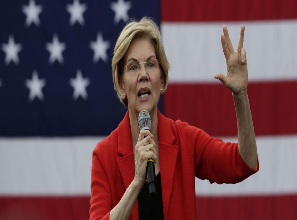 Democratic presidential hopeful Senator Elizabeth Warren speaks during a campaign town hall at George Mason University in Fairfax, Virginia