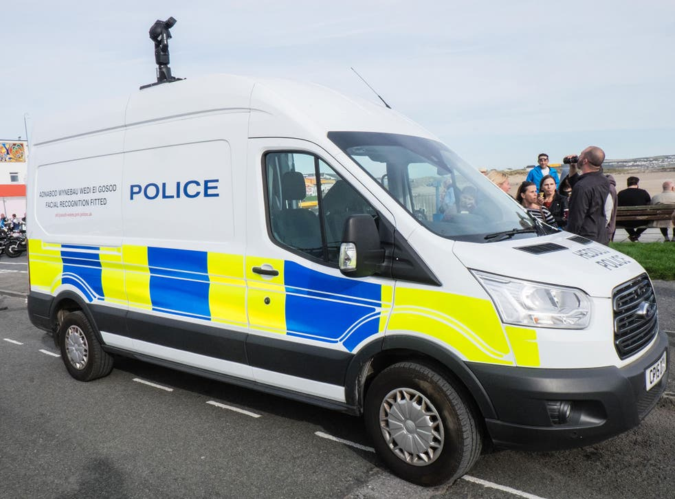A South Wales Police van mounted with facial recognition cameras