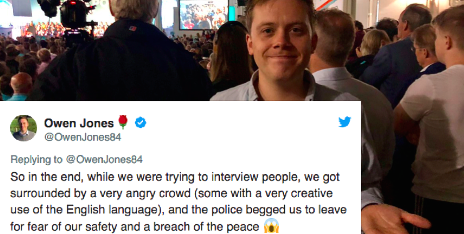 Brexit Party: Owen Jones 'surrounded' by angry crowd at