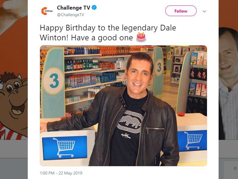 TV channel wishes Dale Winton happy birthday, more than a year after…