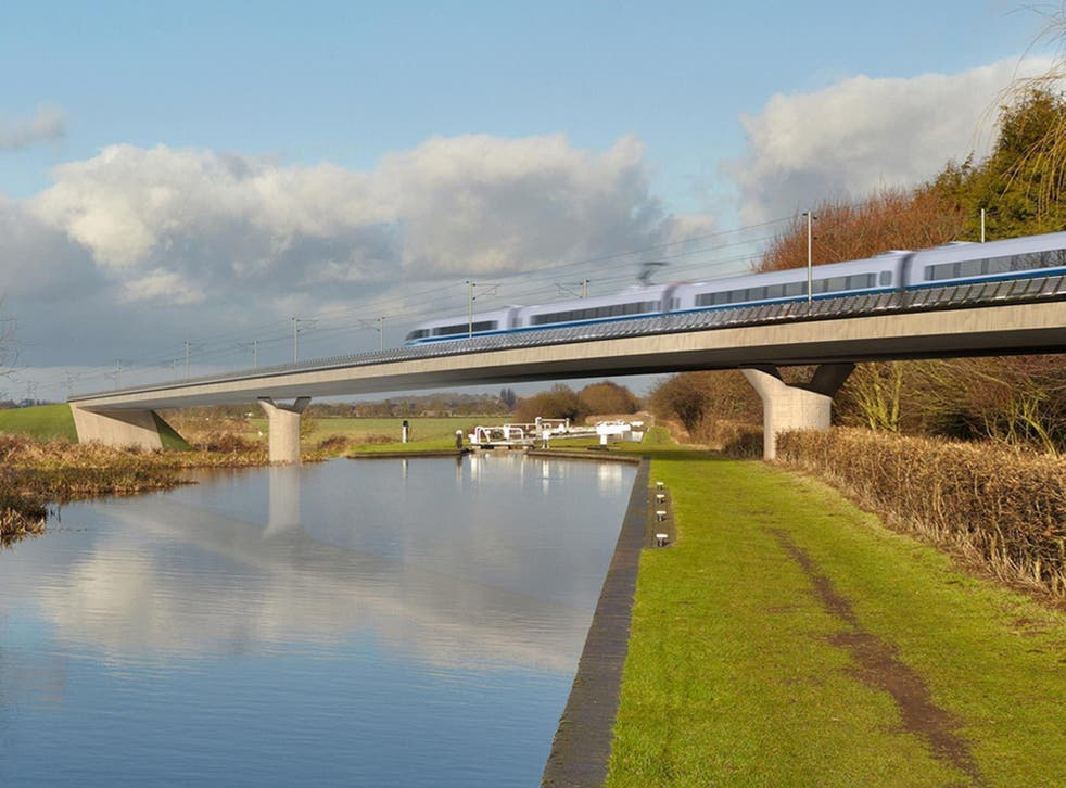 An artist's impression of an HS2 train on the Birmingham and Fazeley viaduct, part of the proposed route for the rail scheme