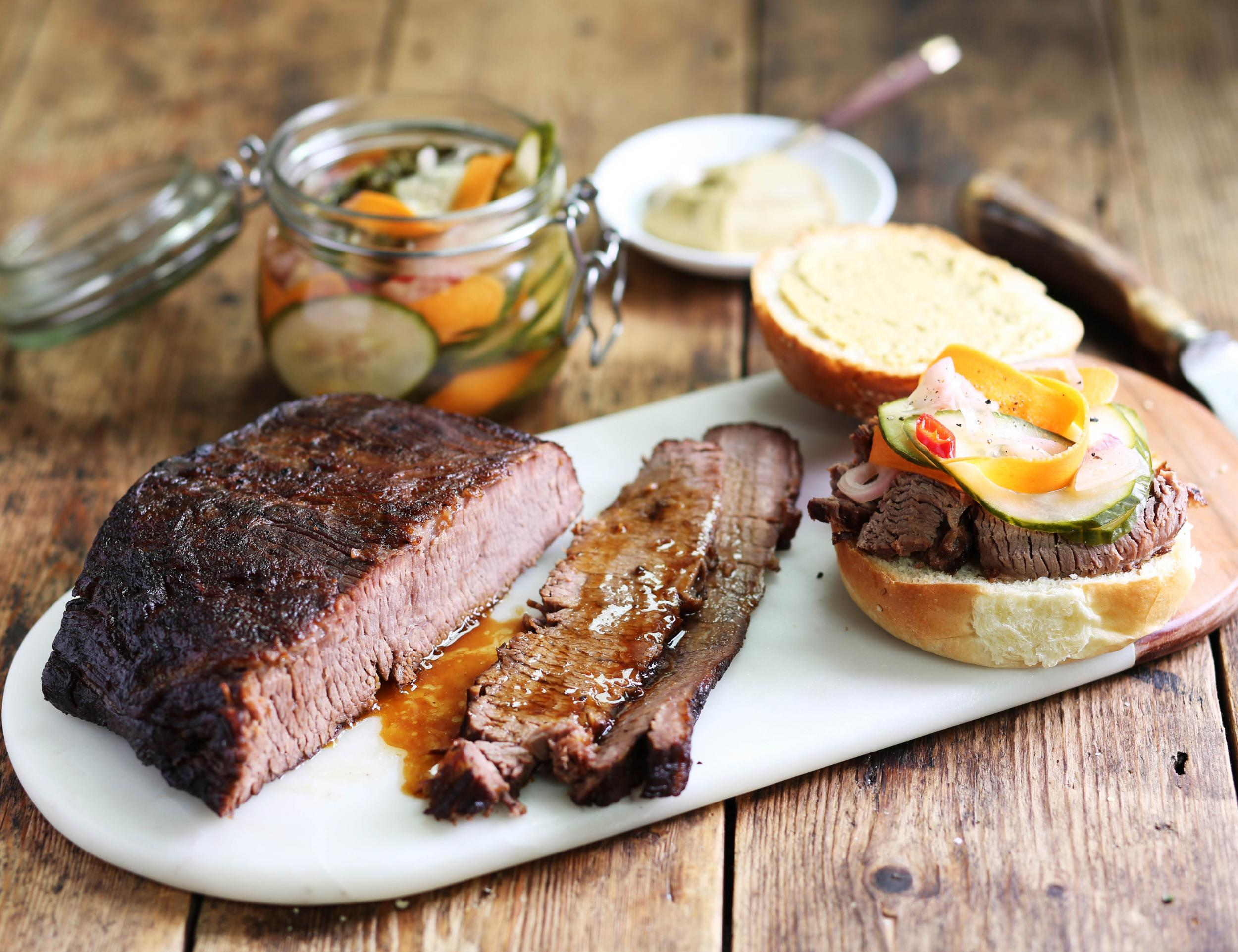 How to make organic smoked brisket with pickle buns 1