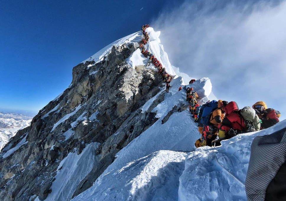 Climbers had to queue for hours to reach the summit of Mount Everest on Wednesday