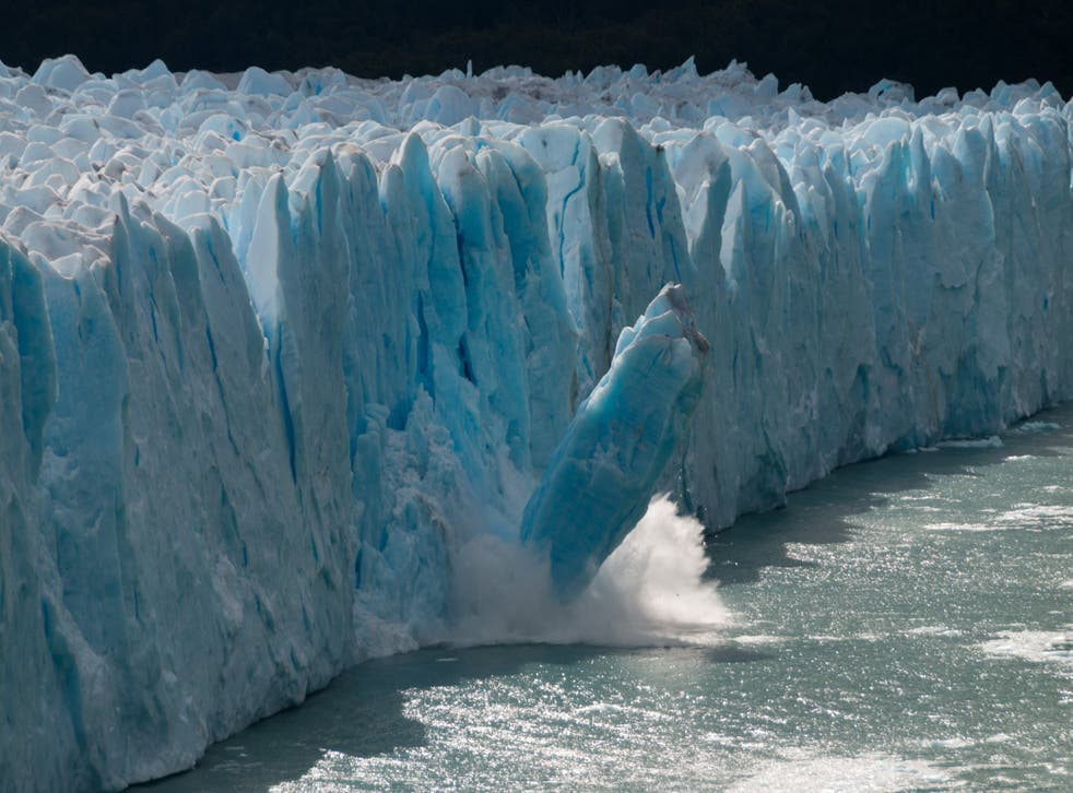 A giant piece of ice breaks off a glacier in Argentina