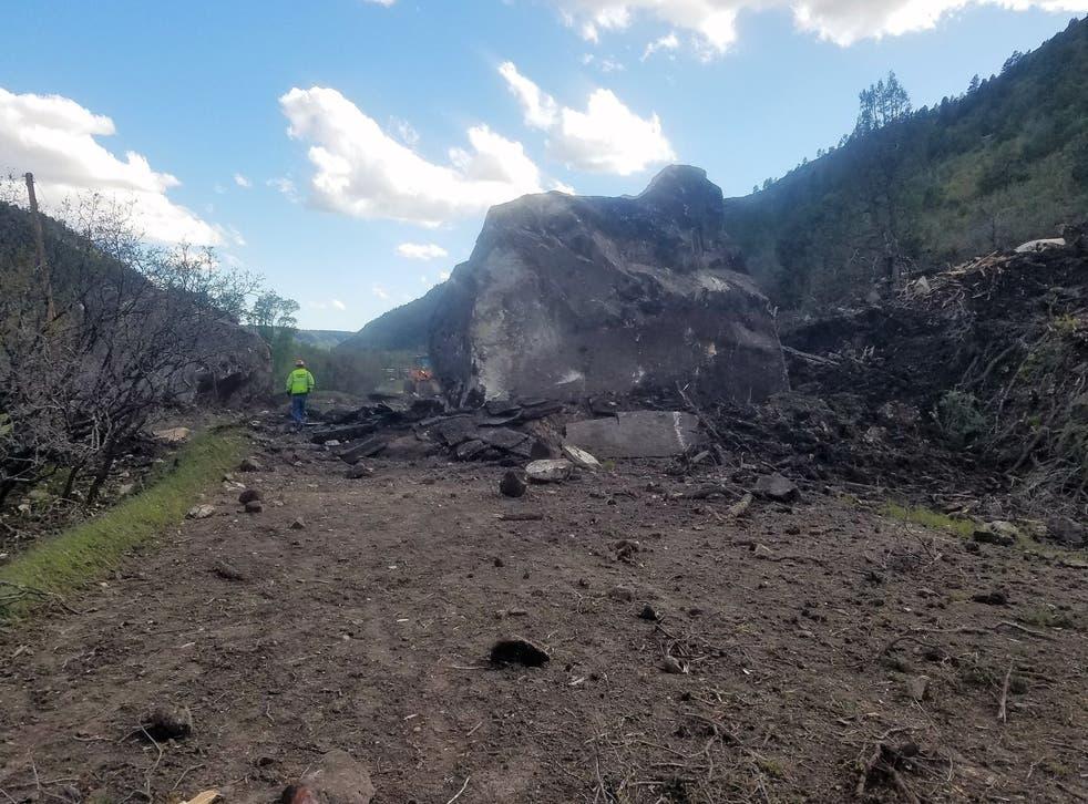 An image of the highway destroying boulder