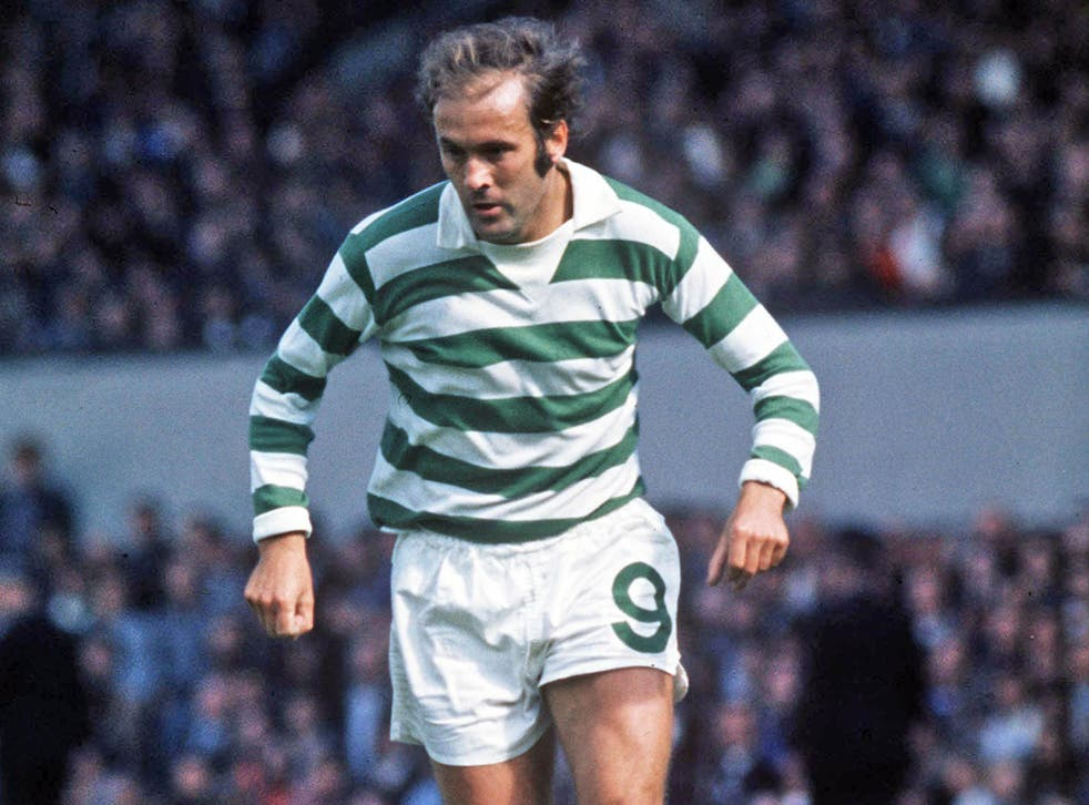 Hood, seen in action for Celtic in 1974, scored 123 goals for the Glasgow club