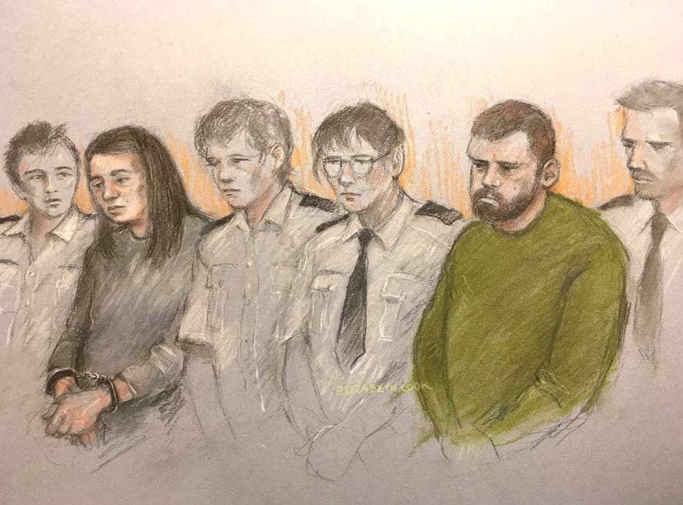 Sarah Barrass, in a court sketch during her trial at Sheffield Crown Court last year
