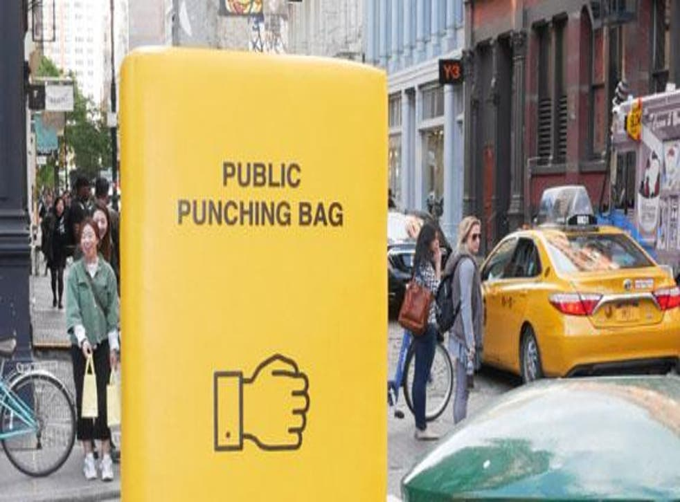 A public punching bag on the streets of Manhattan