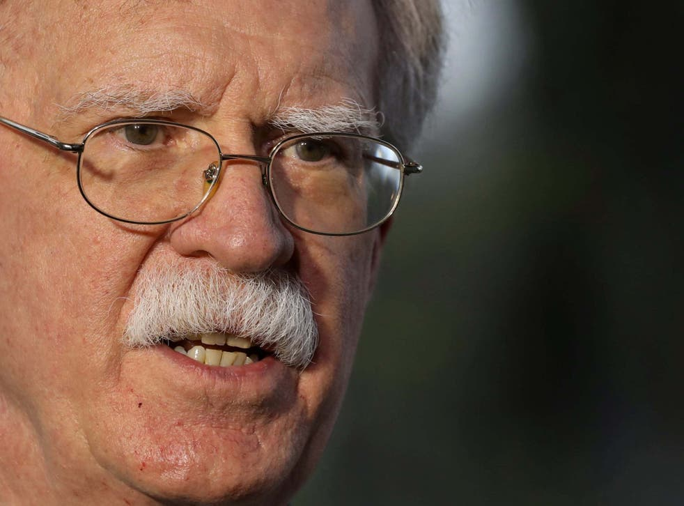 Mr Bolton claimed in Abu Dhabi, on his way to London, that it was 'clear that Iran is behind' the attacks on the tankers