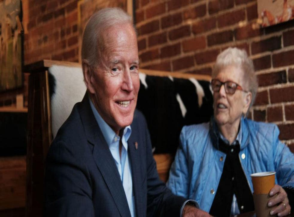 Joe Biden sweet talking a potential voter on the campaign trail in New Hampshire