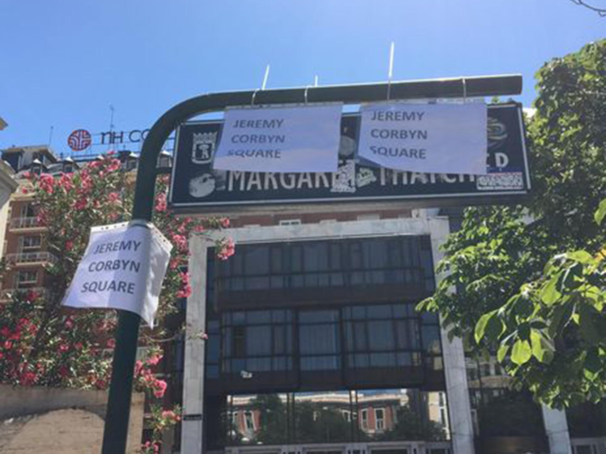 Champions League final: Liverpool fans rename Margaret Thatcher Square in Madrid as Jeremy Corbyn Square