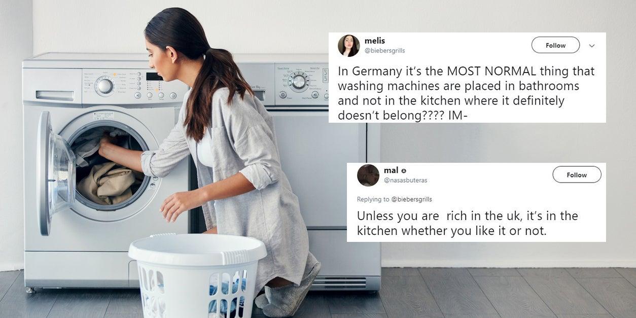debate divides people over where a washing machine should. Black Bedroom Furniture Sets. Home Design Ideas