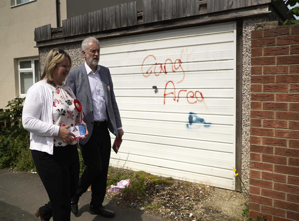 Forbes and Corbyn take part in a walkabout in the run up to the Peterborough by-election