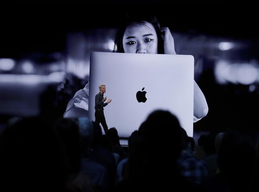 Craig Federighi , Senior Vice President of Software Engineering at Apple, speaks about programming during the keynote address at the Apple World Wide Developers Conference