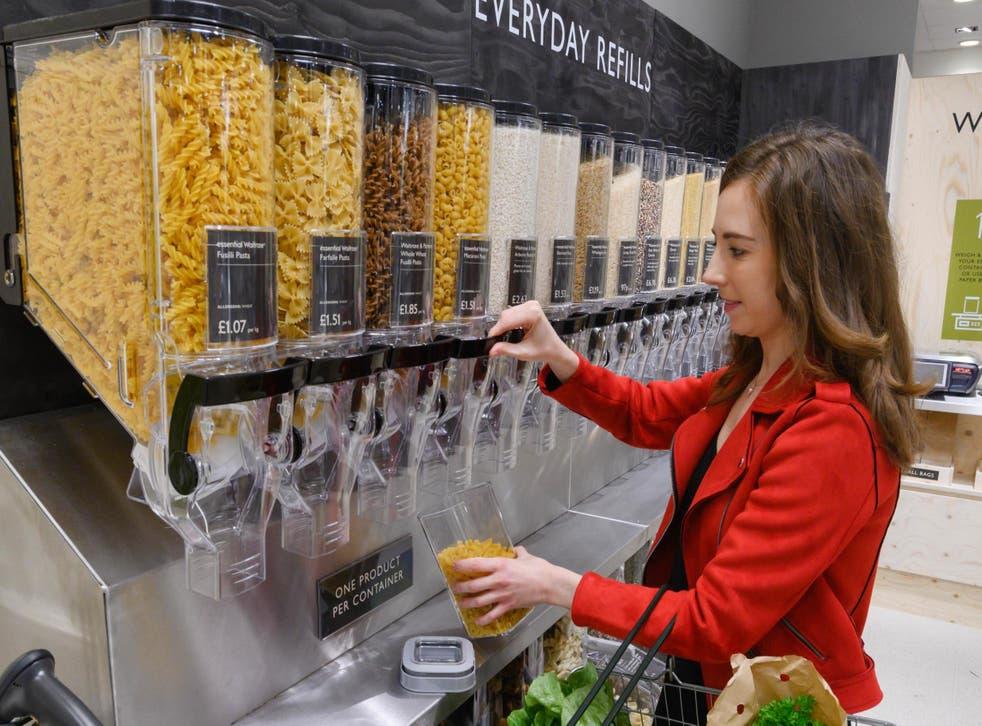 One Waitrose customeruses the self-serve pasta dispensers