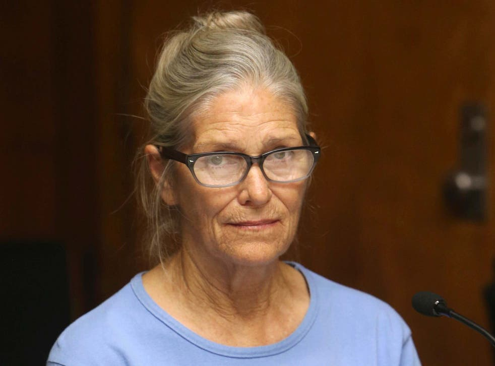 Leslie Van Houten at her parole hearing at the California Institution for Women in Corona