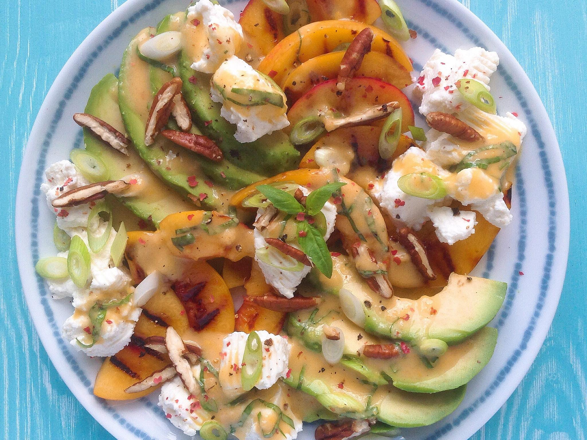 How to make griddled peach, avocado and ricotta salad 1
