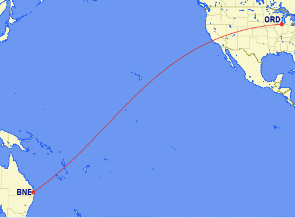 Long hop: the most direct track between Chicago O'Hare airport (ORD) and Brisbane (BNE) in Queensland
