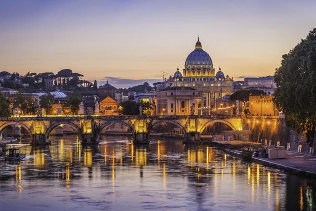 Sunset over St Peter's Basilica