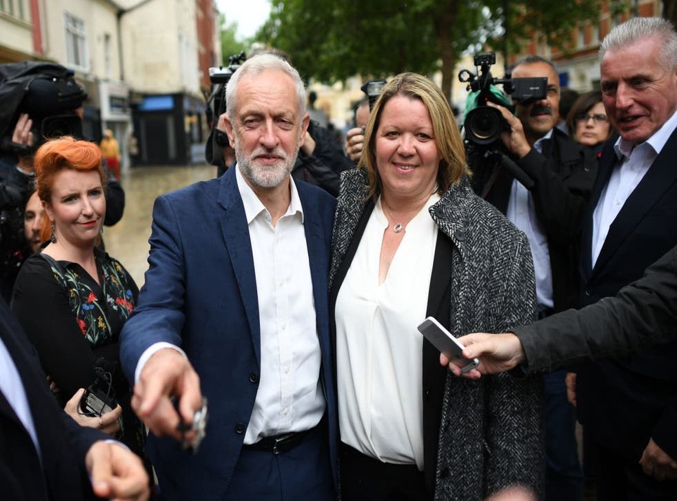 Jeremy Corbyn celebrates with new Labour MP Lisa Forbes in Peterborough