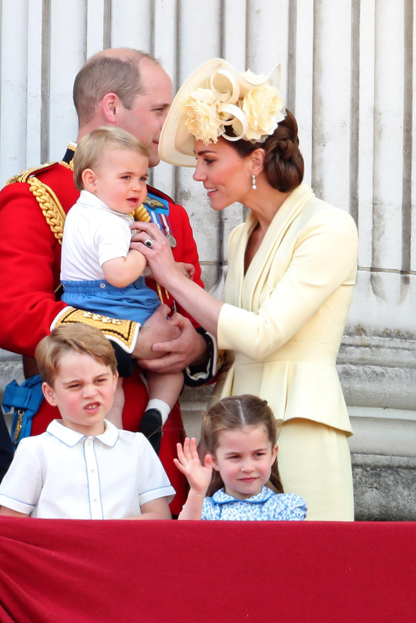 Prince Louis and Princess Charlotte wave at Trooping the